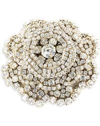 Rebecca de Ravenel - Ava Crystal & Goldplated Pewter Floral Brooch - Lyst