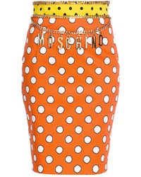 Moschino Dotted Chain Pencil Skirt - Orange