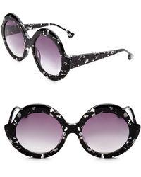 Alice + Olivia - Stacey Round Black Sunglasses - Lyst
