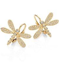 Temple St. Clair Dragonfly Pavé Diamond & 18k Yellow Gold Earrings - Metallic