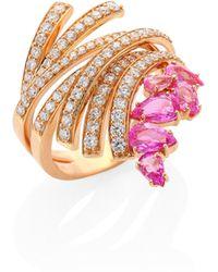 Hueb - Mirage Diamond, Pink Sapphire & 18k Yellow Gold Ring - Lyst