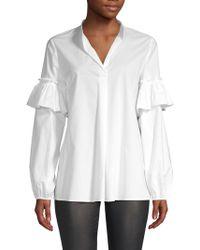 ESCADA - Cotton Ruffle Sleeve Shirt - Lyst