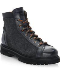 Santoni - Mixed Media Leather Hiking Boots - Lyst