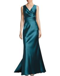 Liancarlo - V-neck Sleeveless Satin Gown - Lyst