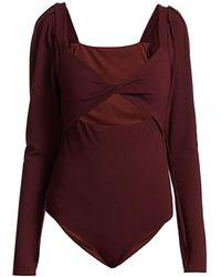 Johanna Ortiz Puff Sleeve Keyhole Bodysuit - Red