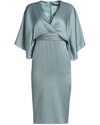 THEIA Kimono V-neck Sheath Dress - Blue