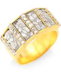 Shana Gulati - Ajmer Goldplated & Diamonds Ring - Lyst