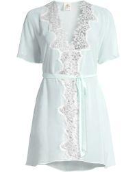Jonquil Stephanie Chiffon Lace Short Robe - Blue