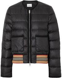 Burberry Icon Stripe Detail Down-filled Puffer Jacket - Black