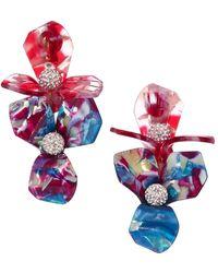 Lele Sadoughi Trillium Bouquet Crystal & Multicolor Acetate Clip-on Drop Earrings - Yellow