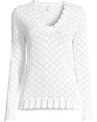 Minnie Rose Pointelle Knit Sweater - White