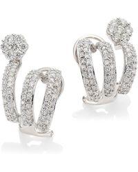 Hueb - Diamond Flower 18k White Gold & Diamond Cuff Earrings - Lyst