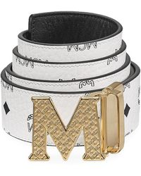 MCM Claus Reversible Logo Engraved Belt - White