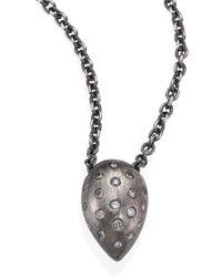 Rene Escobar - Small Diamond & Sterling Silver Teardrop Pendant Necklace - Lyst