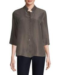 Eileen Fisher - Silk Button-front Top - Lyst