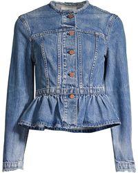 Rebecca Taylor Peplum Denim Jacket - Blue