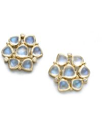 Temple St. Clair - Royal Blue Moonstone, Diamond & 18k Yellow Gold Cluster Earrings - Lyst