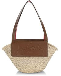 Christian Louboutin Small Loubishore Leather-trimmed Straw Tote - Brown