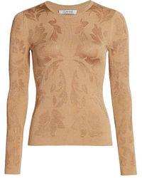Cushnie Floral Jacquard Knit Top - Natural