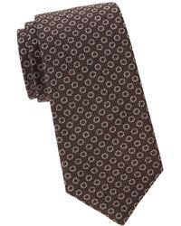 Isaia - Textured Dots Silk & Wool Tie - Lyst