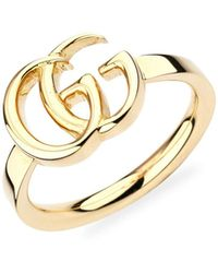 Gucci Running G Logo 18k Yellow Gold Ring - Metallic