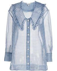 Ganni Plaid Organza Shirt - Blue