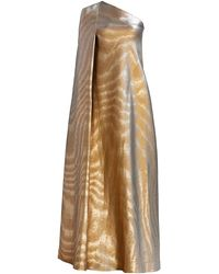 Reem Acra Iridescent Animal-stripe Asymmetric Gown - Metallic