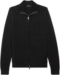 Theory Todd Full-zip Textured Sweater - Black