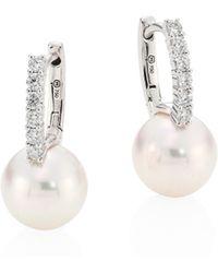 Mikimoto - Classic 8mm White Cultured Akoya Pearl, Diamond & 18k White Gold Drop Earrings - Lyst