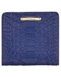 Gigi New York Mini Python-embossed Leather Bi-fold Wallet - Blue