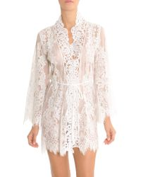 Jonquil - Women s Lace Wrapper Robe - Ivory - Size Large - Lyst e04641576