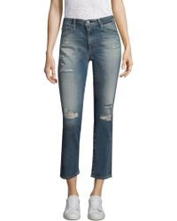 AG Jeans - Isabel Distressed Cropped Jeans - Lyst