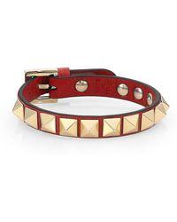 Valentino - Leather Stud Bracelet - Lyst