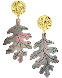 Nest Gray Mother-of-pearl Carved Leaf Earrings