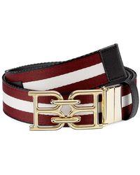Bally Striped Web Belt - Red