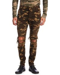 Balmain - Ripped Camouflage Skinny-fit Jeans - Lyst