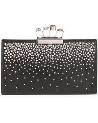 Alexander McQueen Four-ring Knuckle Crystal-studded Leather Clutch Bag - Black