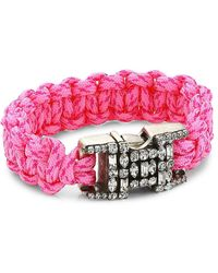 DANNIJO Depp Silverplated & Crystal-embellished Woven Bracelet - Pink