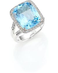 John Hardy | Classic Chain Diamond, Blue Topaz & Sterling Silver Ring | Lyst