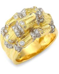Saks Fifth Avenue Bamboo 18k Yellow Gold & Diamond Statement Ring - Metallic
