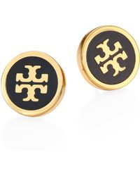 Tory Burch - Lacquered Logo Stud Earrings - Lyst