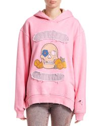 Alchemist Gang Gang Distressed Cotton Hoodie - Pink