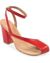 Dries Van Noten Colorblock Leather Thong Sandals - Red