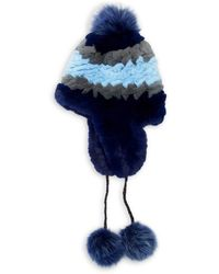 Pologeorgis - Knitted Rabbit And Fox Pom-pom Trapper Hat - Lyst