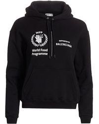 Balenciaga Cropped World Food Programme Hoodie - Black