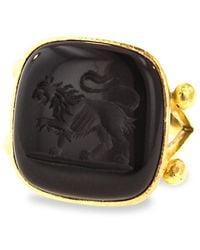 Elizabeth Locke Stone Intaglio 19k Yellow Gold & Onyx Lion Large Cushion Ring - Metallic