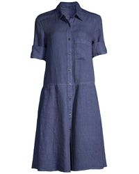 120% Lino 120% Lino Oversize Pocket Linen Shirtdress - Blue