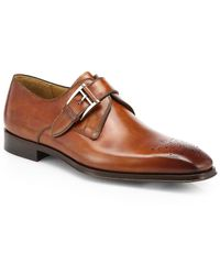 Saks Fifth Avenue Double-buckle Leather Monk Strap Shoes - Brown