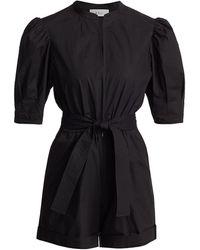 A.L.C. Erica Puff-sleeve Cotton Romper - Black