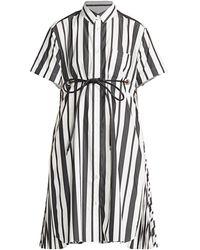 Sacai Striped Poplin Short-sleeve Shirtdress - Black